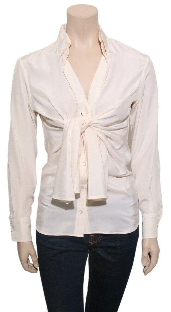 YSL Vintage Silk Front-Tie Blouse (Größe 36)