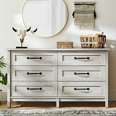 Chest Of Drawers Large Rustic White Home Bedroom Dresser Six 6 Drawer Decor Ebay