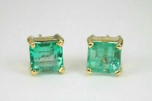 18K-Yellow-Gold-Finish-2-00-Ct-Princess-Cut-Green-Emerald-Womens-Stud-Earring