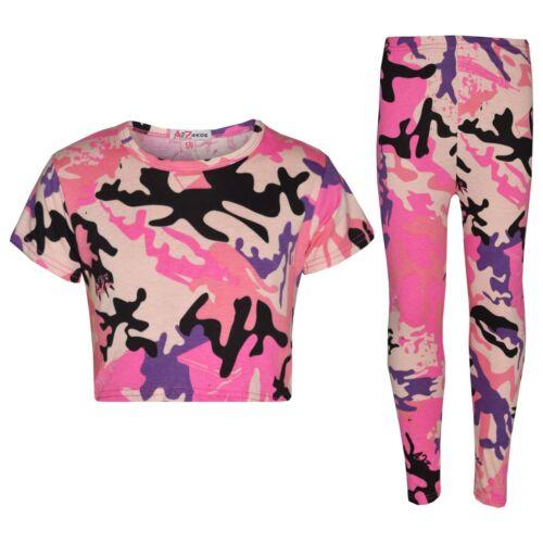 Girls Baby Pink Designer/'s Camouflage Print Trendy Crop Top Legging Set 7-13 Yr