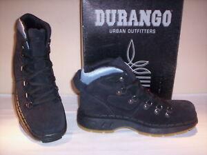 Scarpe-alte-polacchini-scarponi-Durango-uomo-pelle-scamosciata-neri-nuovi-45