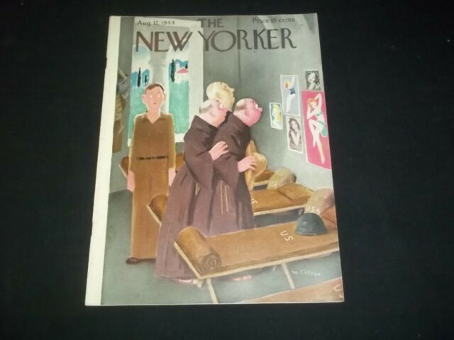 1944 AUGUST 12 NEW YORKER MAGAZINE - BEAUTIFUL FRONT COVER FOR FRAMING - F 2579
