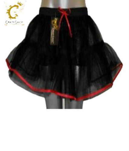 Halloween Crazy Chick 4Layer Black//Red Devil Vampire TuTu Skirt Fancy Dres Party