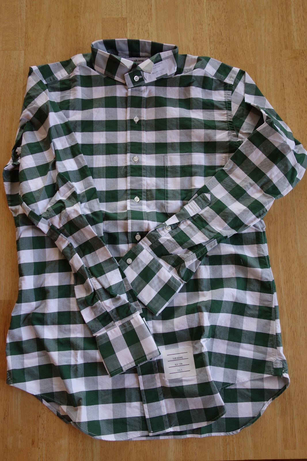 Nuevo sin  etiquetas Thom marróne verde blancoo Cuadros Cuello de ala de Tela de Oxford TB1 15-33.5  barato y de alta calidad