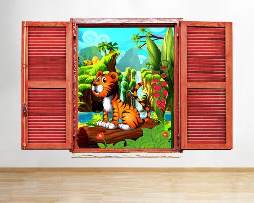 Q690 caricature tigre animal cool kids fenêtre applique murale 3D art stickers vinyl chambre