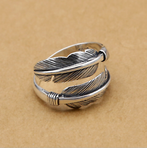 Thick-Solid-Sterling-Sliver-Wrap-Feather-Open-Band-Angel-Wing-Leaf-Silver-Ring-I