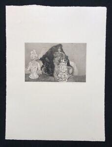 Gunda Oehm, stile di vita con una porcellana personaggio, acquaforte, 1967, firmato a mano