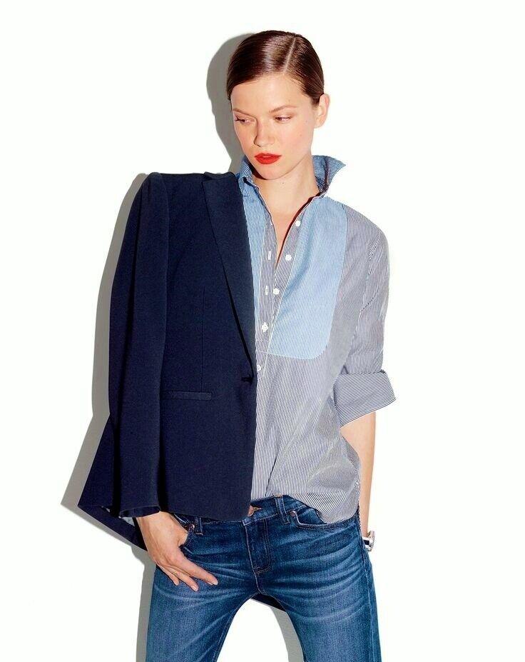 NWT  Designer J.CREW Striped Tuxedo Popover Tunic SHIRT French Blau