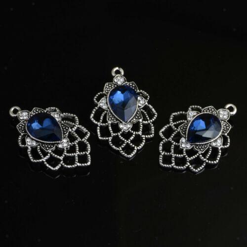 10 Stück Vintage Kristall Strass Anhänger Charms für DIY Halskette