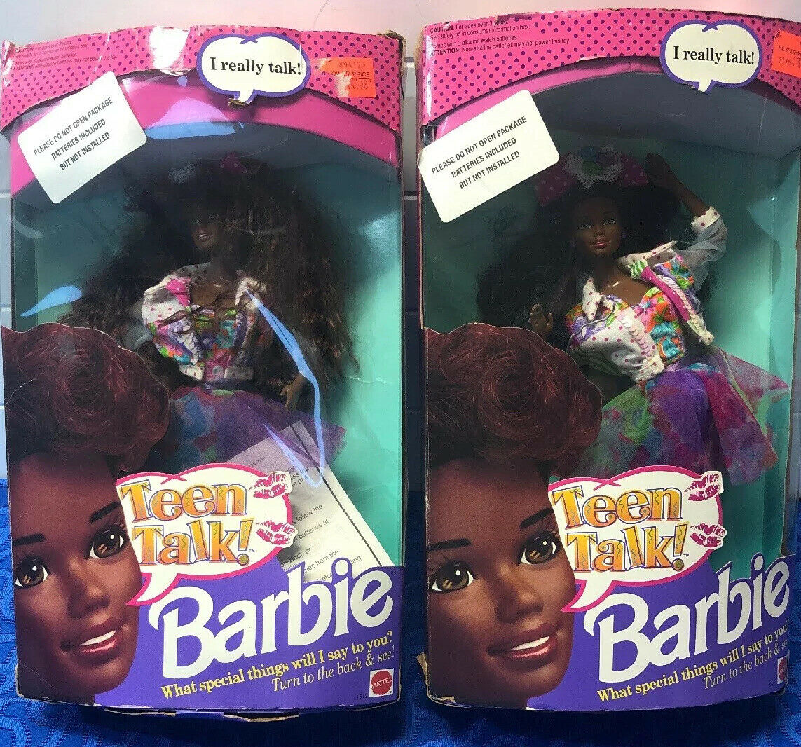2 1991 Barbie Teen Talk African American  Doll  1612 Mattel In Boxes Opened Rare