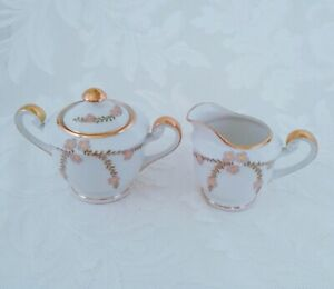 Vintage-Japan-Porcelain-Sugar-Bowl-and-Creamer-Set-Pink-Cherry-Blossoms-Gold