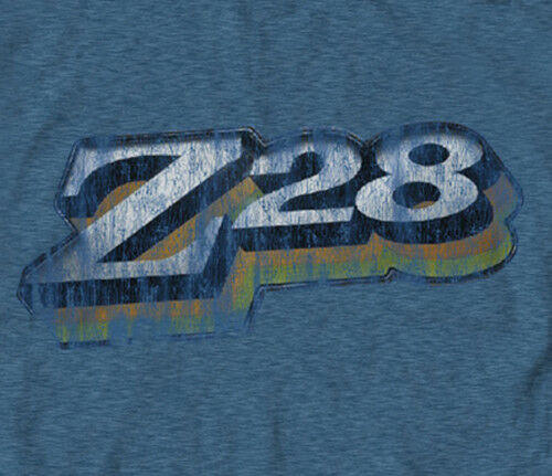 Chevrolet Retro Z28 Faded DENIM HEATHER Adult T-Shirt GM