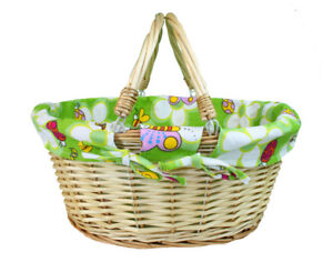 Details About White Wicker Basket Green Lining New Baby Gift Hamper Nursery Storage