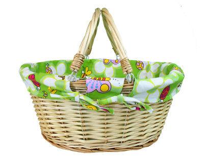 White Wicker Basket Green Lining New Baby Gift Hamper Nursery Storage 5055327212327 Ebay
