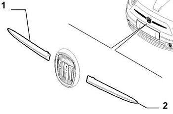 Genuino oe Parrilla Frontal Cromada Rematador Fiat 500 L//h Lado