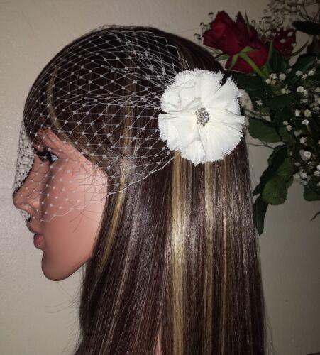 "Brides Ivory birdcage bandeau wedding veil 9/"" with diamante fabric flower detail"