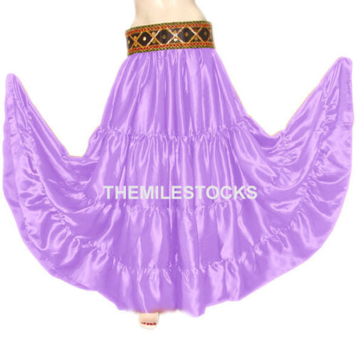 TMS Satin 25 Yard 4 Tiered Skirt Belly Dance Gypsy Boho Violet Red 30 Color