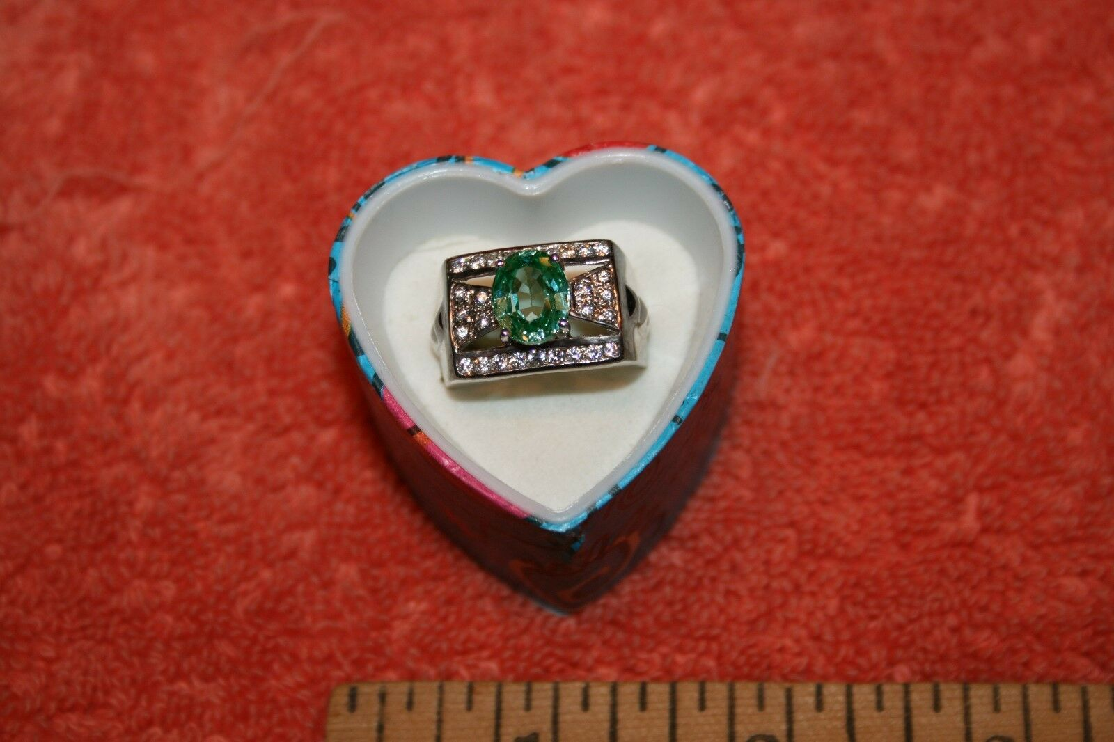 925 Sterling & Semi-Precious bluee Cut Stone with Crystal Stones Ring Sz 10.5