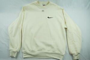 Vintage-Nike-Crewneck-White-Cream-Cotton-Sweater-Mens-S-NEW-NWOT-D701