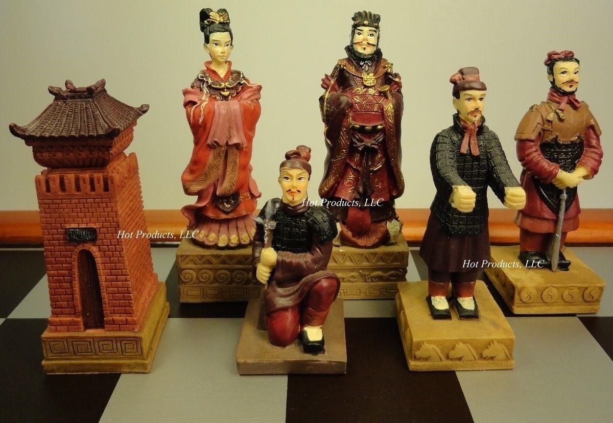 Oriental TERRACOTTA ARMY Warriors Chess Men Set - NO BOARD - TERRA COTTA