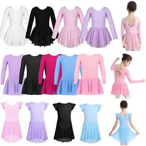 Kids-Toddler-Girls-Gymnastics-Leotard-Dress-Ballet-Dance-Tutu-Skirt-Dance-Wear