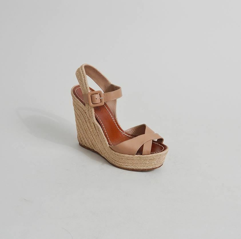Valentino Beige Leather Espadrille Wedge Sandals - Size 38