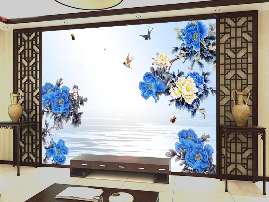 3D bluee Big Flower Bird 411 Wall Paper Wall Print Decal Wall AJ WALLPAPER CA
