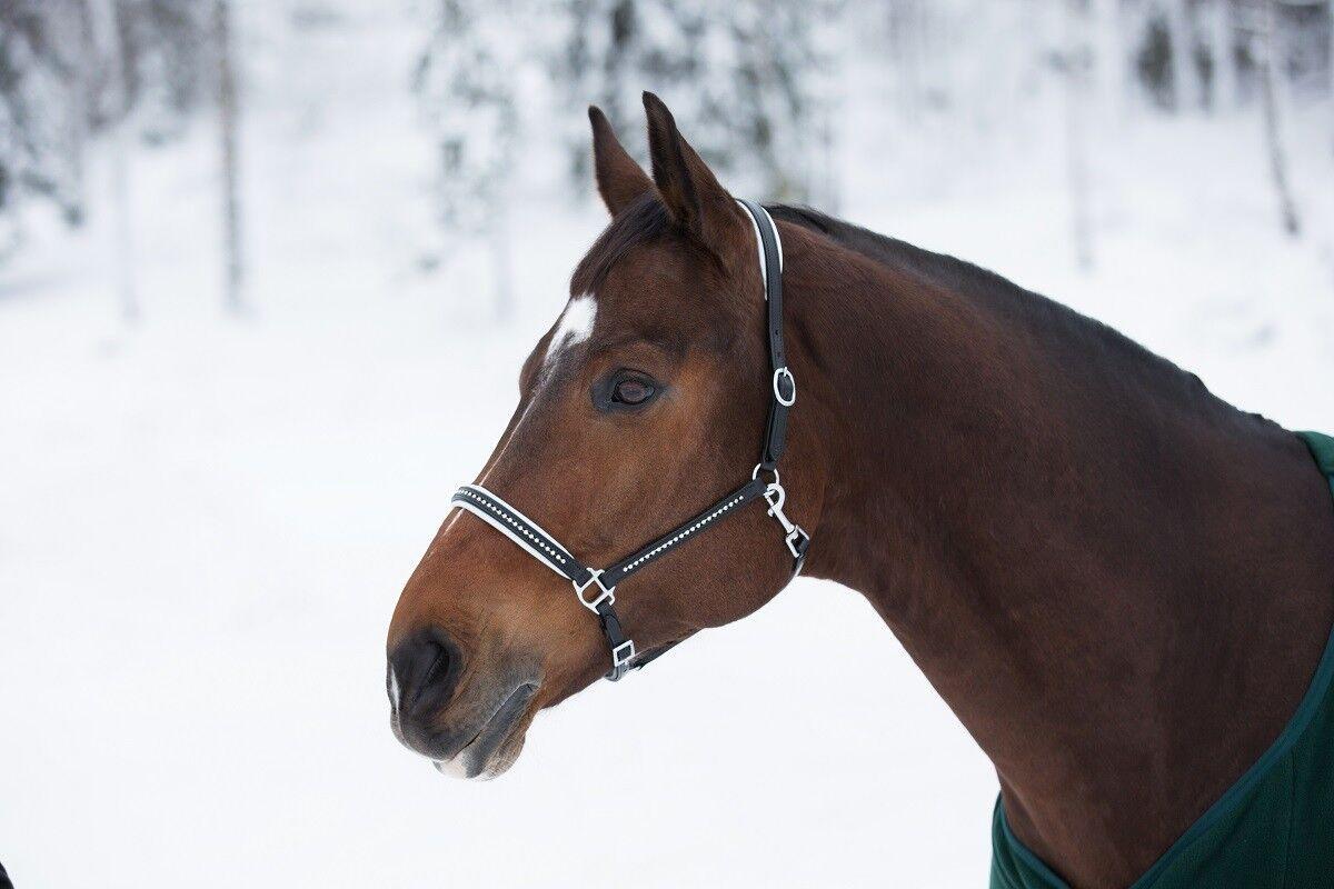Horze Diamante Cristal Completo caballo caballo caballo Negro De Cuero Acolchado Halter Muserola mejilla Snap c96b4d
