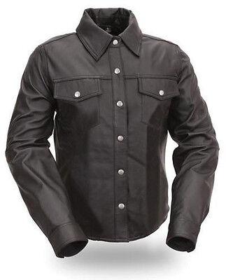 Camicia DA UOMO POLICE uniforme in Pelle Vera Agnello Reale Pecora Nera