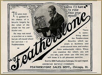 1900 D Featherstone Bicycle Sales Dept American Bicycle Elderly Man Print Ad Limpid In Sight Merchandise & Memorabilia 1900-09