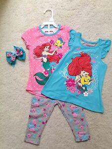 b165bff665966 New Pink & Blue Disney Ariel Mermaid 3-Pc. T-Shirts, Leggings Outfit ...