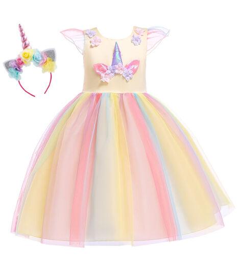 Kids Girls Unicorn Fancy Dress Hoop Fairy Princess Wedding Party Kids Costume