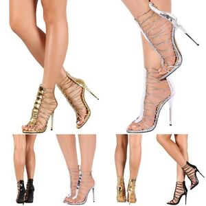 Metallic-Mirror-Caged-Stiletto-High-Heels-Strappy-Open-Toe-Gladiator-Sandal-H186