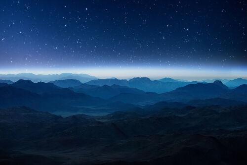 Night Mountains Egypt Twilight Sunrise Landscape Photo Poster 18x12