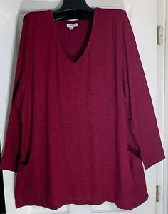 New-J-Jill-women-size-1XL-seamed-front-Tunic-two-pockets-Burgundy-Pima-cotton