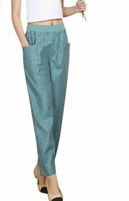Harem Plus Größe Pants Loose High Elastic Waist Ankle Length Summer Fashion Wears