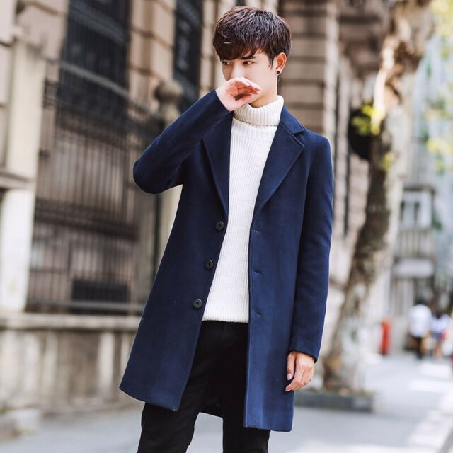 dependable performance super quality latest selection of 2019 Korean Men's Fashion Wool Blend Long Trench Coat Outwear Slim Fit Overcoat  Size