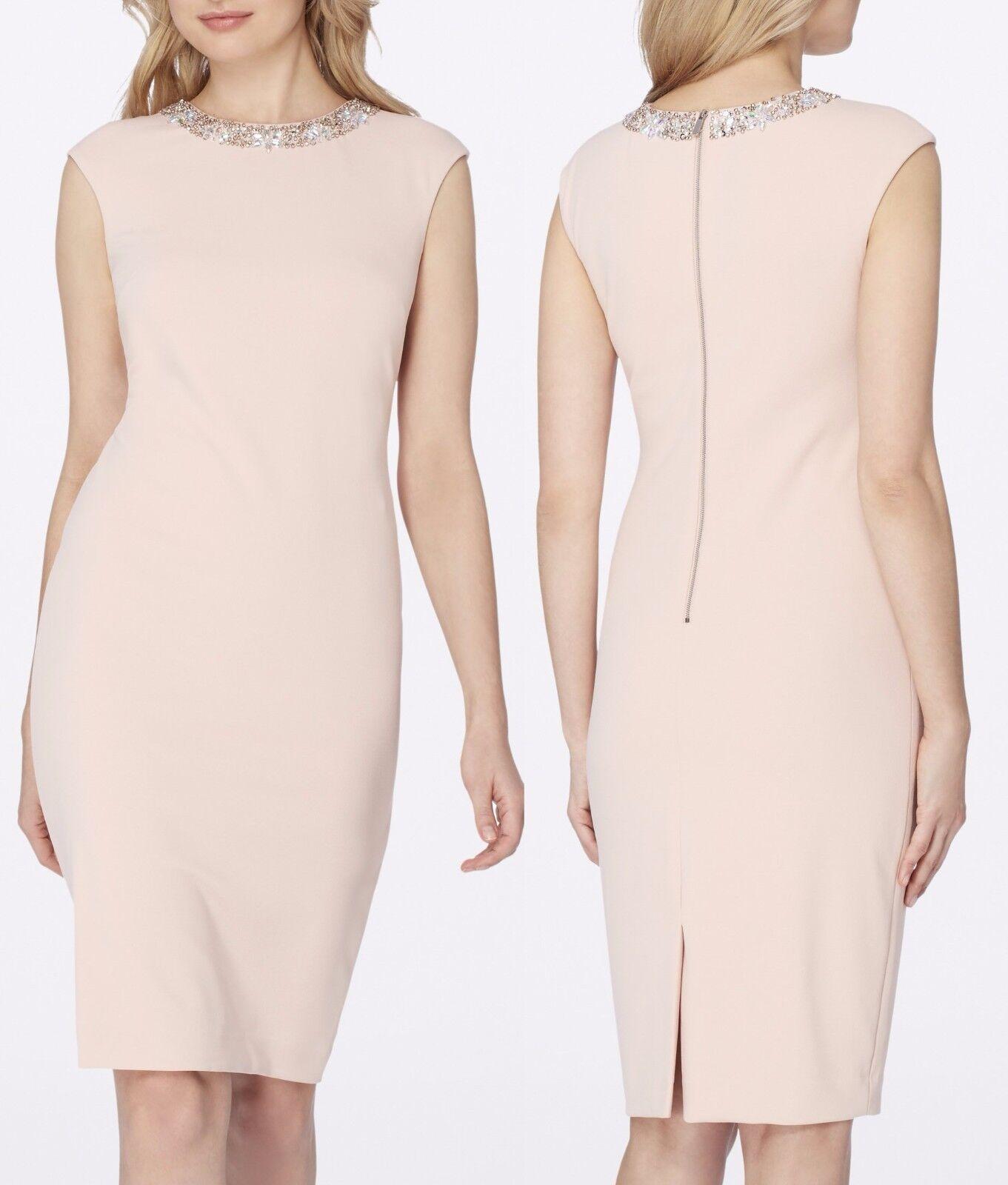 Tahari 7120M182 Blaush Rosa Jeweled Neck Stretch Crepe Sheath Dress, 4R -