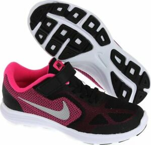 67f6b810d636 NIKE REVOLUTION 3 (PSV) KIDS GIRLS TRAINERS 819417 001 BLACK PINK