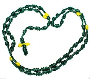 Green cord rope knotted thread rosary beads bracelet