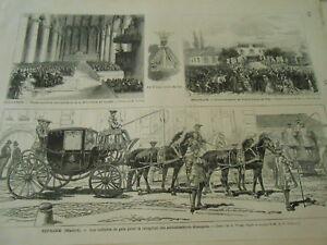 SincèRe Gravure 1874 - Espagne Les Voitures De Gala Pour Reception Des Ambassadeurs