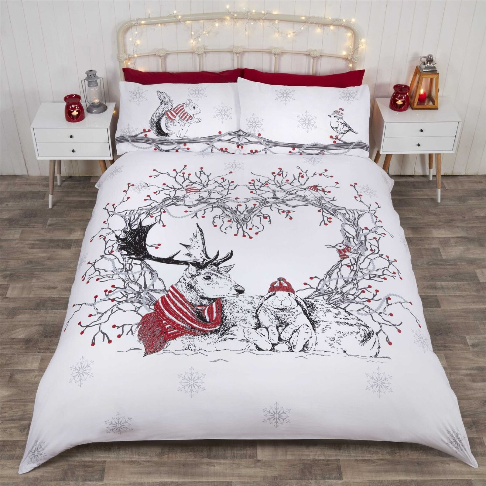 CHRISTMAS WINTER ANIMALS WREATH RED COTTON BLEND DOUBLE 6 PIECE BEDDING SET