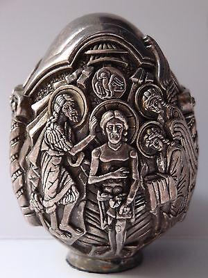 Sehr Schön Verziertes Großes Religiöses Ei Aus 997er Silber