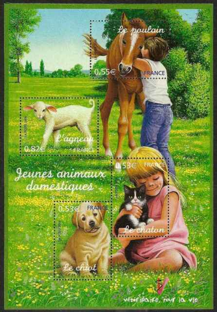 2006 FRANCE BLOC N°96** BF Chien chat cheval agneau /dog, cat, horse sheet MNH