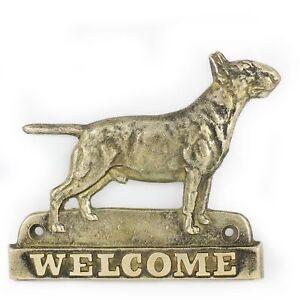 Bull Terrier - Plaque De Laiton Avec Un Chien 'welcome' Art Dog Fr