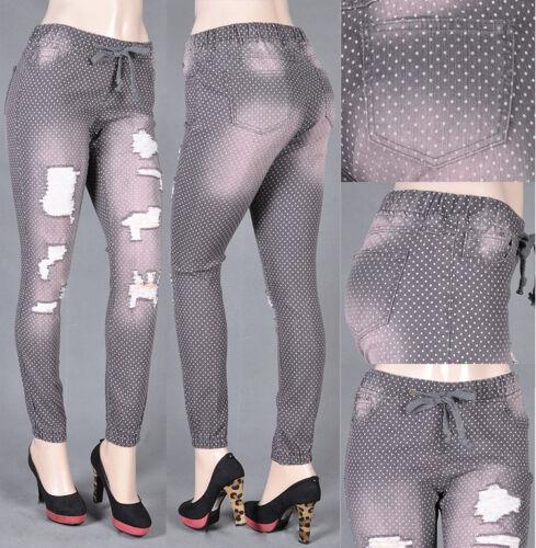 NWT Stretch Denim Dot Print Skinny Joggers Style#15591D size S to L