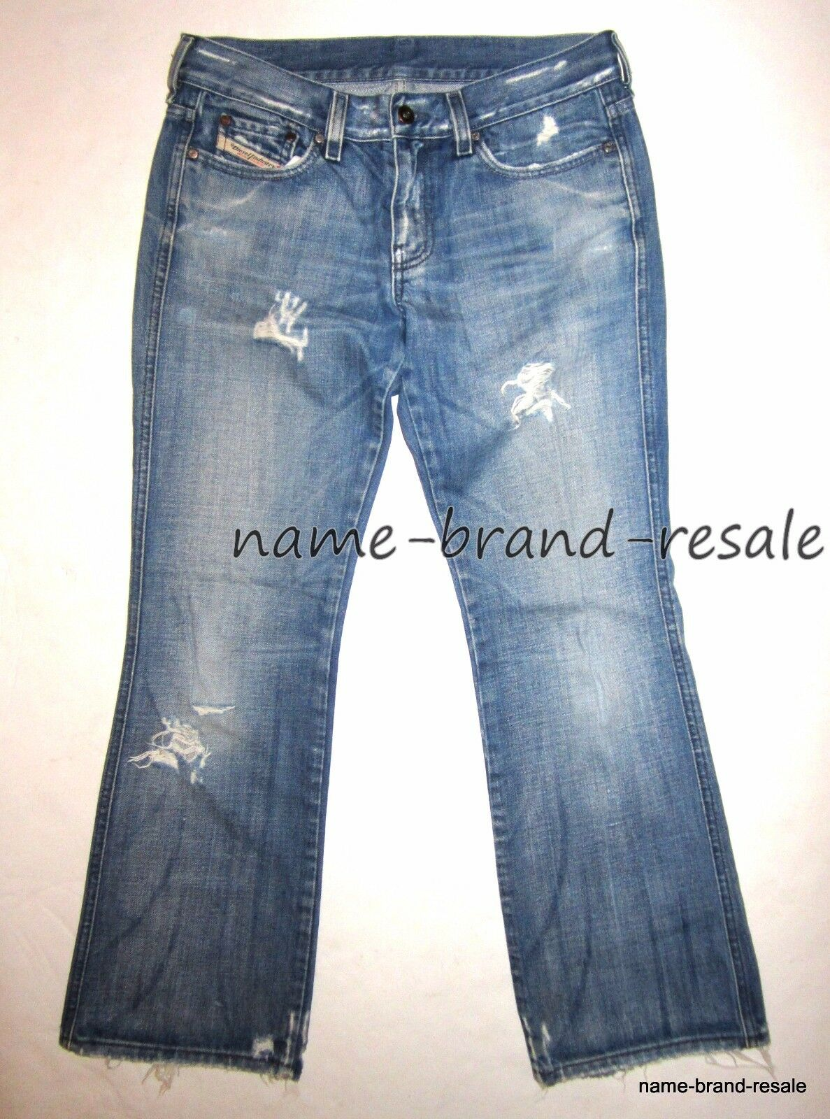 DIESEL RAME Faded Denim Boot JEANS Womens 29 x 30 Ripped Distressed Destroyed