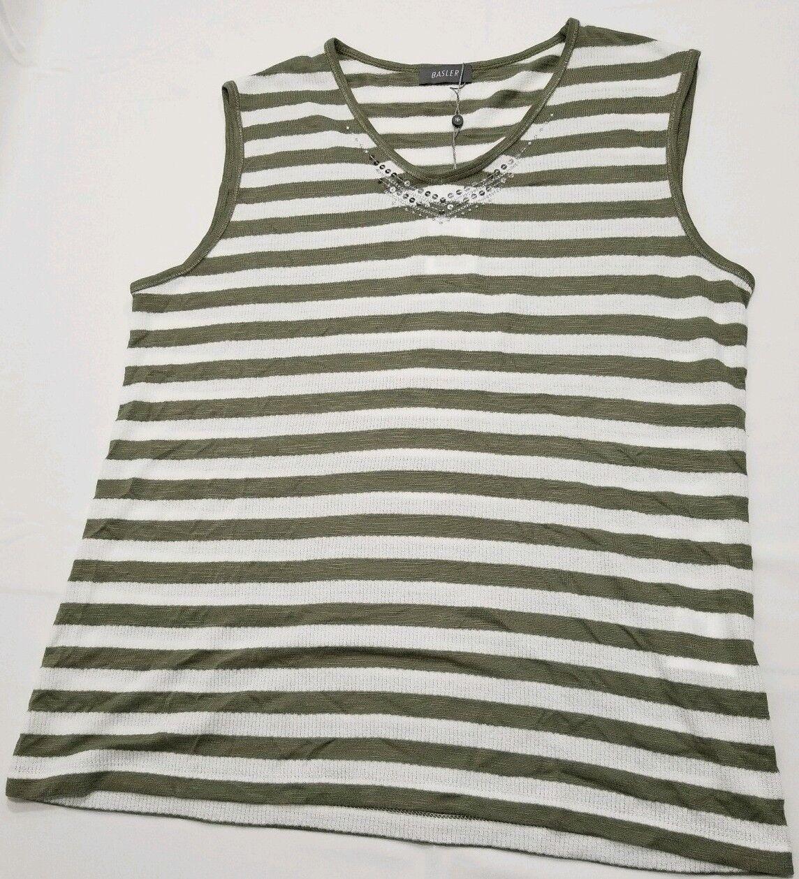 Basler women Striped Sleeveless Top Khaki and White plus size 12