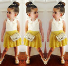 Pretty Toddler Girls Kids Lace Tops Floral Shirt Skirt Summer Dress Outfits 2-7Y