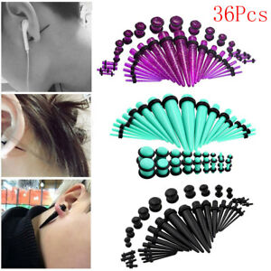 36Pcs-Acrylic-Ear-Plug-Taper-Kits-Gauge-Expander-Stretcher-Stretching-Piercing
